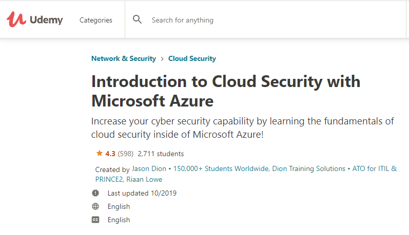 Cloud Security with Microsoft Azure-course