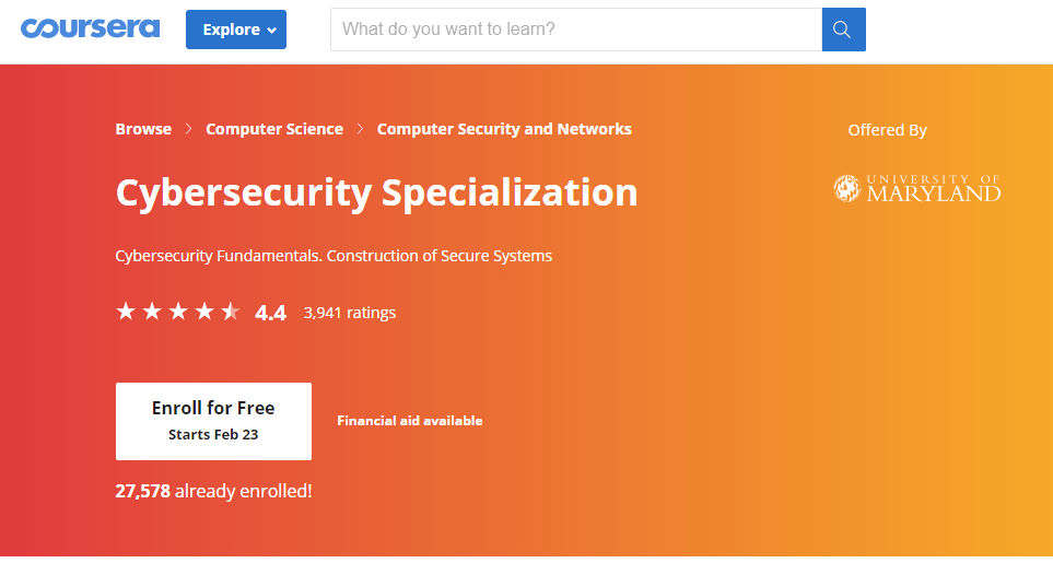 Cybersecurity Specialization - Course