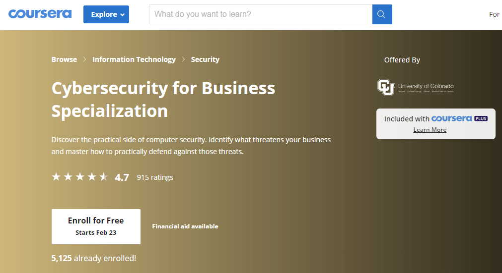 Cybersecurity for Business Specialization-course