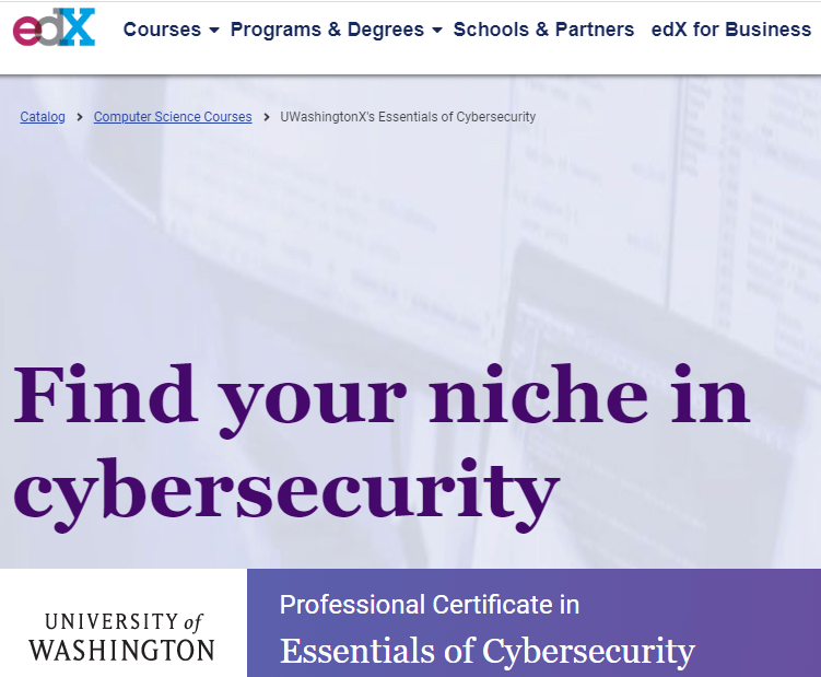 Essentials of Cybersecurity-course